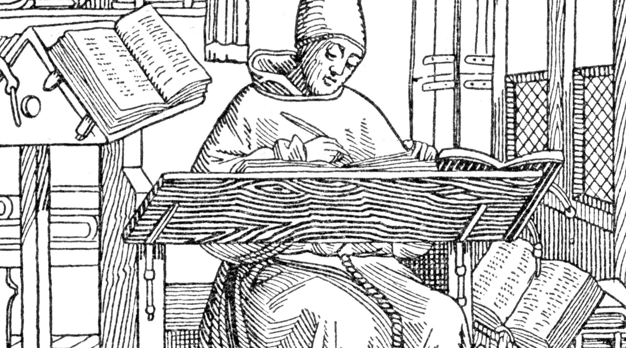 Mnich kopista, rycina, imitacja